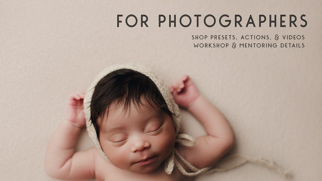 for photographers, newborn photography resources, baby laying on tan background